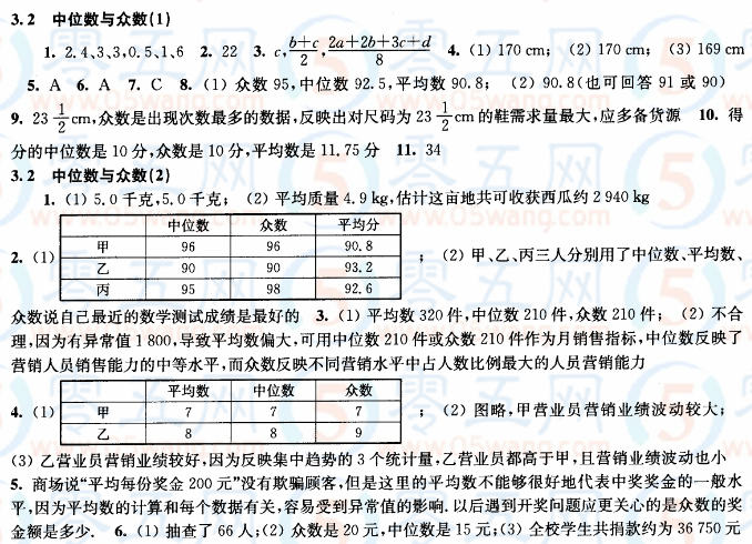 3.2中位数与众数同步练习答案